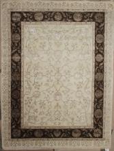 Индия шерсть шелк 14x14 - 818A - IVORY / D.BROWN